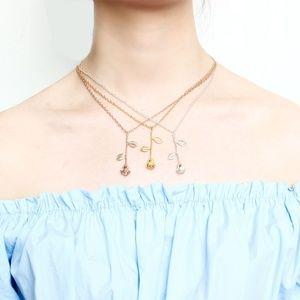 Rose Gold Silver Flower Pendant Necklace